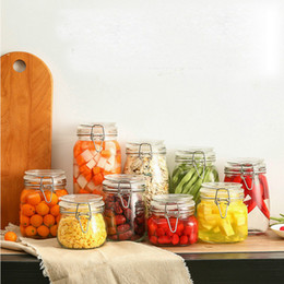 honey bottles wholesale Coupons - 1pcs 500 750 1000 1500 glass storage bottles jars with lid large capacity honey candy jar kitchen storage container glass jar