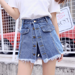 джинсовые юбки высокого качества Скидка High Quality Denim Shorts Women 2019 Summer High Waist Skorts Skirts Slim Blue Short Jeans Vintage Short Feminino