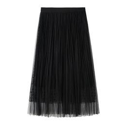 Jupe plissée à plus grande taille en Ligne-Fashsiualy jupes femmes maxi jupe longue taille élastique jupes superposées jupe en maille plissée Black Soild coréen, plus la taille