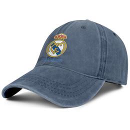 Cappello da lavare online-Real Madrid CF Blancos Los Merengues Los Vikingos blu bianco blu Womens Mens Denim cappello lavaggio palla stili stili personalizzato visiera tinta