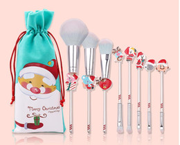 2020 make-up-sets für anfänger Christmas gift elk makeup brush beginner eyeshaow eyebrow lip brush blush brushes 5 pcs set with bag beauty tools gift free shipping günstig make-up-sets für anfänger