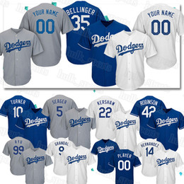 Personalizzato Los Angeles 22 Clayton Kershaw pullover Dodgers 35 Cody Bellinger Jersey 10 Justin Turner 13 Max Muncy uomini top qualityBaseball Maglie da
