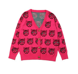 Blusas para gatos on-line-Runway Cardigan New Inverno Chefe Cat Pattern Sweater Oversized Vintage Jacket Jersey Wool Knit Jumper