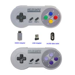 Controladores snes online-Gamepads inalámbricos 2.4GHZ Joypad Joystick Controller para SNES NES Classic Mini windows IOS Android frambuesa pi Consola remota