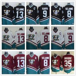 f2061488c Cheap Vintage Anaheim Mighty Ducks Hockey Jerseys 9 Paul Kariya 8 Teemu  Selanne 35 Jean-Sebastien Giguere 13 Selanne 1998 CCM Jersey