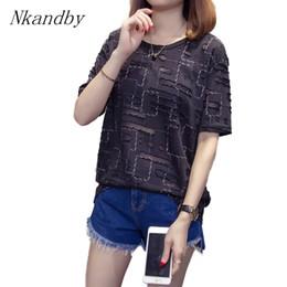 2019 camisa de manga del agujero de la señora Nkandby Plus Size Hole T Shirt 2018 verano mujer Vintage manga corta elegante Tops de gran tamaño ropa de señora T3190603 camisa de manga del agujero de la señora baratos