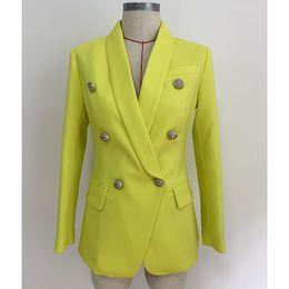 черная металлическая куртка Скидка Высокое качество желтый белый черный красный пиджак куртка женщина пальто голова льва металлическая пряжка двубортный костюм деловая вечеринка пиджаки куртки