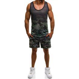 Maglia sleeveless camuffamento mens online-Tuta sportiva da uomo Tuta sportiva da jogging Camouflage Summer Casual 2 pezzi Short Set Urban Wind Track Suit
