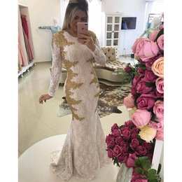 eaaeb11b38e New White And Gold Prom Dresses Mermaid Long Sleeves See Through Back Sweep  Train High Neck Lace Evening Gowns Party Dresses