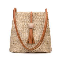 2019 bolso de playa de cuero de paja DCOS Bali Vintage Handmade Crossbody Bolsa de cuero Redonda de paja Bolsa de playa Niñas Círculo Ratán Pequeño Bohemio Hombro bolso de playa de cuero de paja baratos