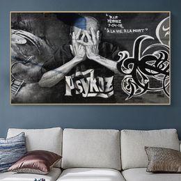 2019 grande lona arte preto branco Tamanho Grande preto e branco Banksy Graffiti Pôsteres Pinturas Canvas Wall Art Prints decorativa Posters Sala Home Decor grande lona arte preto branco barato
