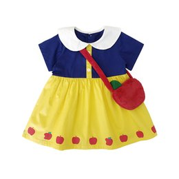 snow white costume children Promo Codes - Baby Girl Princess Snow White Pleated Dress for Kids Snowwhite with Bag Free Clothing Children Costume Dress