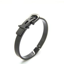 Титановый ремень черный онлайн-Мода титана стали мужские браслет роза / черный / золото / посеребренные пряжки ремня браслет ювелирные изделия