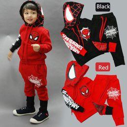 Karikatur winterkleidung online-Spiderman Baby Kid Sportkleidung Anzug Outfit Cartoon Anzug Sommerkinder Jungenkleidung longsleeve Pullover Kleidungssatz B1