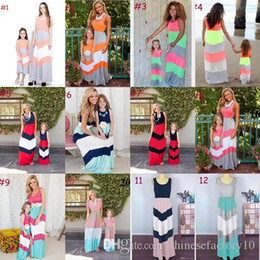 vestidos casuales de mamá hija Rebajas Mommy Daughter Matching Dress Mother and Daughter Stripe Dresses Summer Mom and Baby Sleeveless Long Dress 12 Colors