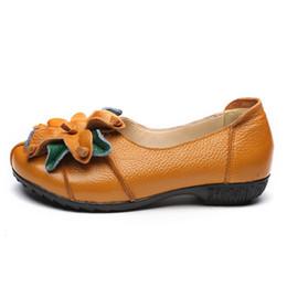 scarpe da ballo scarpe fatte a mano Sconti Vendita calda-Genuine Leather Women Casual Shoes National Style Flowers Ballet Flats Handmade Retro Summer Flat Shoes Donna