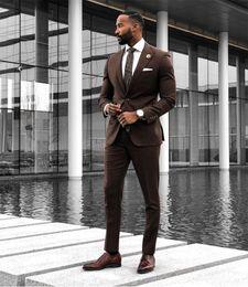 jaqueta de smoking marrom Desconto Brown Ternos de Casamento 2019 Slim Fit Noivo Smoking Para Homens 3 Peças Groomsmen Terno Formal Business Smoking (Jacket + Pants + Vest + Tie)