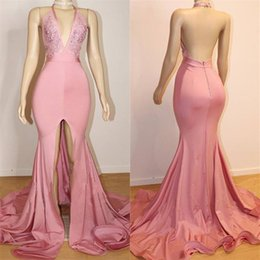 open front mermaid dress Coupons - Real Photos 2019 Sexy Halter Neck Pink Mermaid Prom Dresses Deep V-neck Open Back Front Split Elastic Satin Stretchy Party Evening Gowns