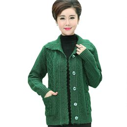 middle aged plus size clothing Coupons - Middle age Plus size Winter Women Wool Sweater Cardigan Coat 2017 Mother Clothes Thicker Christmas Sweater Pull Femme Hiver Z208