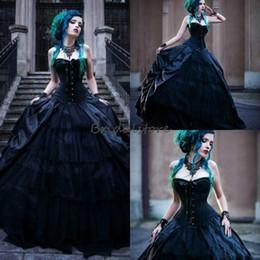 2020 vestido da rainha do vampiro Vestidos maus vitoriano gótico preto vestidos de noiva espartilho sem alças Vampires Punk País Vestido de Noiva Plus Size Vintage Rainhas de noiva vestido da rainha do vampiro barato
