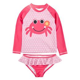 Kinder mädchen badeanzug rüsche online-Kinder Mädchen Split Badeanzug Raglan Langarm Dot Crab Print Mädchen Bademode Rüschen Shorts Splice Sets Badeanzug