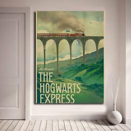 Cartazes de crianças vintage on-line-Harry Potter Cartaz New Vintage Hogwarts Express Pintura Da Lona Retrato Da Arte Da Parede Do Óleo de Impressão Crianças Casa Quarto Decoração Arte Finala