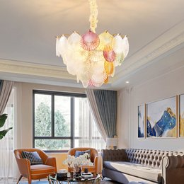 Contemporary Luxury Glass Chandelier Lighting Fixture Colorful Chandeliers Lights Led Adjustable Pendant Lamp For Living Room Bedroom Foyer Green