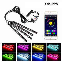 2021 illuminazione decorativa decorativa interna Auto RGB LED Strip SMD 10W Automobili Atmosfera decorativa interna della lampada a LED Telecomando 12V Automobile Interni Lights