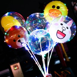 bobo cartoon Promo Codes - LED Balloon Cartoon BOBO Night Light Up Balloons Festival Wedding Party Transparent Bear Duck Kids Balloon Decor LED Balloons BH2172 TQQ