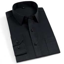 2019 chemises formelles pour hommes couleur Vente chaude Formal Hommes De Mode Robe Chemise À Manches Longues Couleur Unie Business Chemises Hommes Noir Populaire Conception Travail Hommes chemises formelles pour hommes couleur pas cher