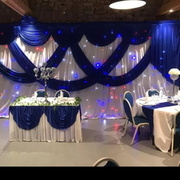 3 M * 6 M Colore bianco Seta di ghiaccio Fondali di nozze con Royal Blue Swag Stage Background Drappo Tenda matrimonio baby shower decor per feste da