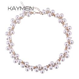 Collares de oro de la boda para las mujeres online-KAYMEN Nuevos incrustaciones de diamantes de imitación y perlas de imitación collar de moda para las mujeres chapado en oro gargantillas collar Bijou boda 1512