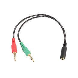 Canada SZAICHGSI Nylon tressé plaqué or 3.5mm Y Splitter 2 Jack Mâle à 1 Casque Femelle Micro Câble Audio Adaptateur Offre