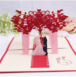 2019 noivo de noiva de papel DoreenBeads Cartões 3D Criativos Cartão de Bênção de Casamento Noiva e Noivo Corte de Papel DIY Cartão Dobrável para Convite de Festa de Casamento 10 pcs GB659 noivo de noiva de papel barato