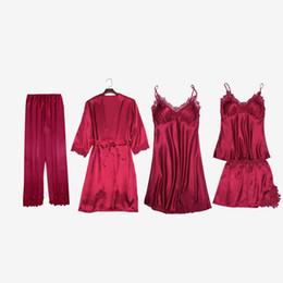 Las mujeres 5 Unidades Pijamas Conjuntos Rayón Satén Seda Rayas Pijamas Mujeres Sexy Bata de encaje Conjuntos de ropa de dormir Sin mangas Ropa de dormir desde fabricantes