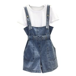 Calça jeans jumpsuit denim on-line-2019 moda feminina verão denim casual perna larga calças curtas macacão cintas tamanho grande