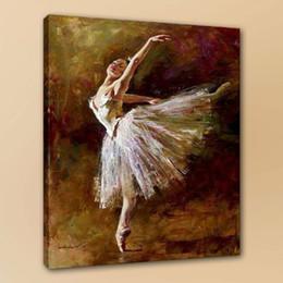 Falda de pared online-Ballet Dancer White Skirt Home Wall Deco On Canvas Decoración para el hogar Arte de la pared Picturey Bar Decoración de la pared Pintado a mano HD Impreso 190822