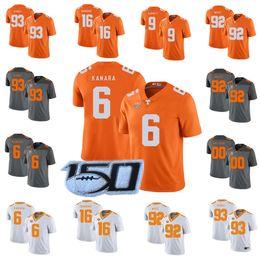 2019 bagas brancas Volunteers Tennessee personalizados # 6 Alvin Kamara 16 Peyton Manning 1 Jason Witten 14 Eric Berry 92 Reggie White Camisas de futebol da faculdade bagas brancas barato