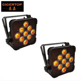 Toma plana online-Gigertop 2 Unidades 9x15 RGBWA 5IN1 Color Flat Led Par Light Tyanshine Lámpara 2.4G Protocolo Común inalámbrico Potencia de entrada / salida Socket Caja de hierro plano
