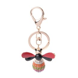 bee key Coupons - Creative animal series alloy small bee key chain small pendant girls bag decorative pendant