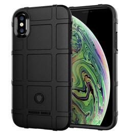 Étui iphone protecteur en Ligne-Cas d'armure de silicone bouclier anti-dérapant robuste pour iphone xs max xr xs x 8 8 plus 7 7 plus 6 6 s 6 plus