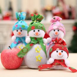 Papel de embrulho de maçãs on-line-Pacote de natal apple snowman dom saco de véspera de natal da fruta da paz caixa boneco de neve apple doces saco de papel de embrulho home decoratio