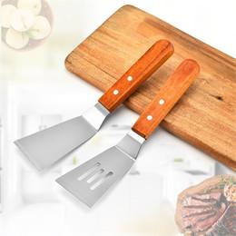 poignées de pelle en bois Promotion Crêpes de pelle à steak en acier inoxydable pelles cuisson pelle frit avec manche en bois outil de cuisson pelle Teppanyaki yq00179