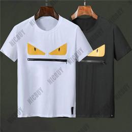 2019 большие мужские футболки Дизайнерские мужские футболки модные летние цветные буквы рома большой желтый глаз молния рот slim fit повседневная футболка с круглым вырезом майка футболка дешево большие мужские футболки