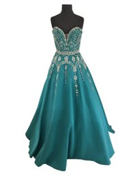 gold teal prom dresses Coupons - Luxury Teal Evening Gowns Long Cheap Princess Designer Crystals Beading Prom Formal Dresses Bridesmaids Evening Wear Party Dress Cheap