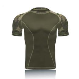 Camo manches courtes Tactical Shirt Combat T-shirts Hommes Randonnée En Plein Air Chasse Armée Shirt À Séchage Rapide Compression Base Layer ? partir de fabricateur