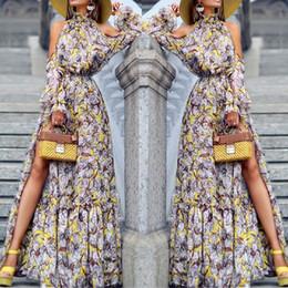 Imprimir bohemio largo vestido de Vestidos de Fiesta Moda atractiva de las mujeres de manga larga Hombro impresos de noche vestidos de cuello alto # 8 desde fabricantes