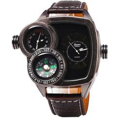 Reloj dial de oulm online-Reloj de cuarzo de doble núcleo para hombres de Oulm. Reloj de cuarzo. Reloj con dial grande.