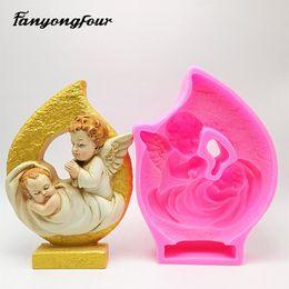 3D abraço bebê anjo molde de silicone molde fondant de resina de gesso molde de vela de chocolate frete grátis de