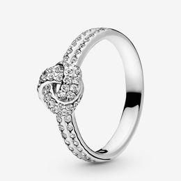 кольцо из стерлингового серебра Скидка Мерцающий Узел Кольцо Женщины Ювелирные Изделия Стерлингового Серебра 925 Кольца Для Pandora Style Ring Luxury Подлинный Европейский Оригинал Для Женщин